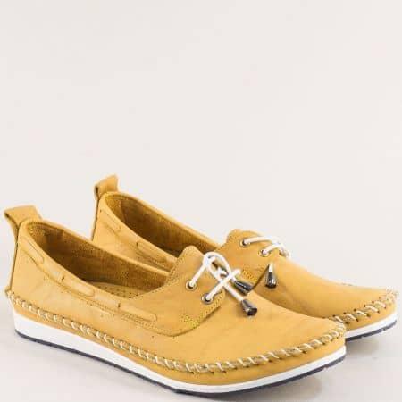 Жълти дамски обувки с ластични връзки и кожена стелка 3081010j