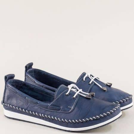 Сини дамски обувки с кожена ортопедична стелка 3081010s