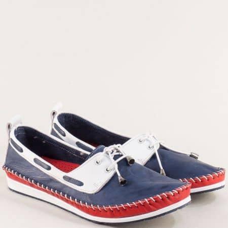 Кожени дамски обувки в синьо, червено и бяло 3081010stomi