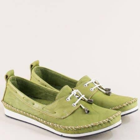 Зелени дамски обувки от естествена кожа с връзки 3081010z