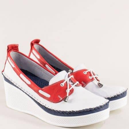 Дамски обувки на платформа в бяло, червено и синьо 30814810btomi