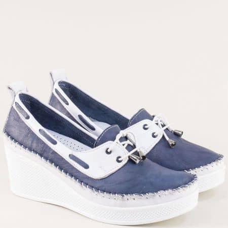 Кожени дамски обувки на платформа в бяло и синьо 30814810sb