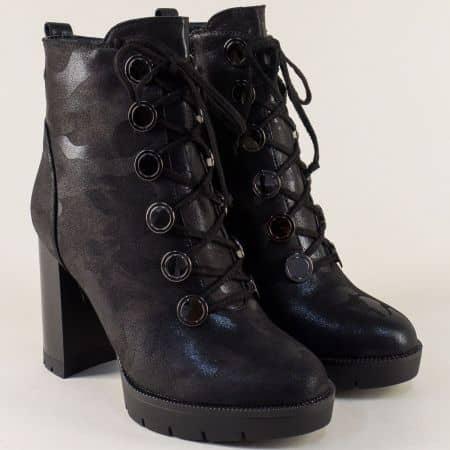 Дамски боти в черен цвят на висок ток с връзки и цип 3082ch