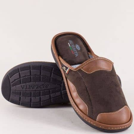 Тъмно кафяви мъжки пантофи на български производител 308kk