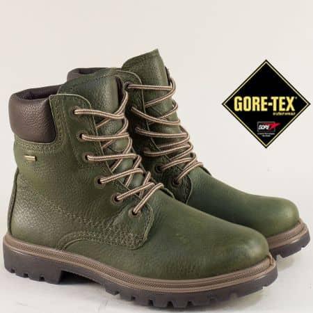 Кожени дамски боти с Gore-Tex мембрана в зелен цвят 309660z