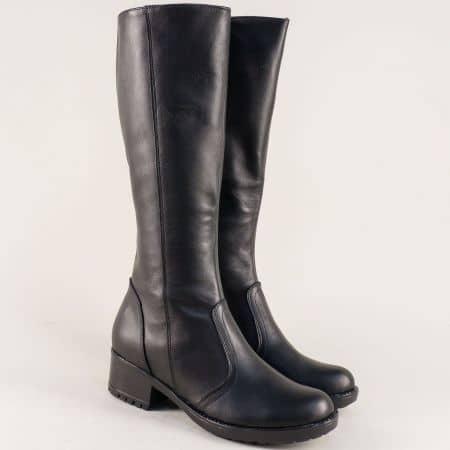 Български дамски ботуши в черен цвят на нисък ток  3096658ch