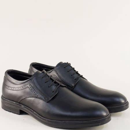 Мъжки обувки в черен цвят с връзки и кожена стелка 3098ch