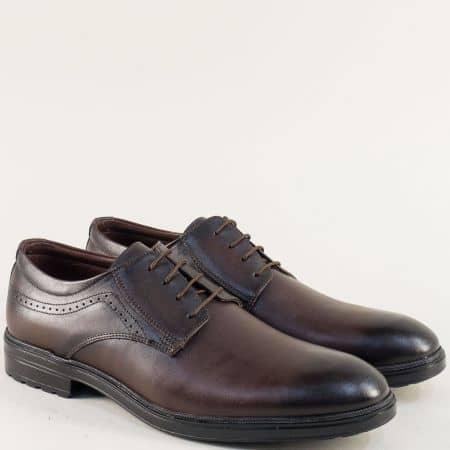 Тъмно кафяви мъжки обувки от естествена кожа с връзки 3098kk