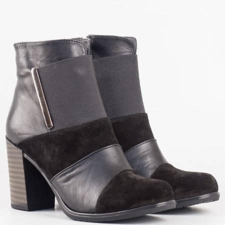 Дамски стилни боти на висок ток от естествена кожа и велур в черен цвят 3101ch