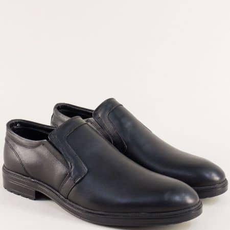 Черни мъжки обувки с два ластика и кожена стелка 3102ch