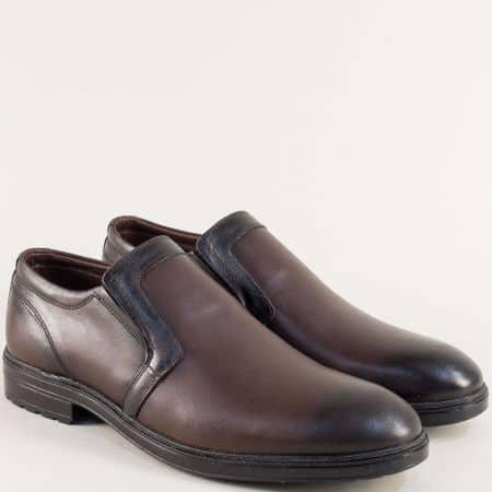 Тъмно кафяви мъжки обувки от естествена кожа с ластик 3102kk