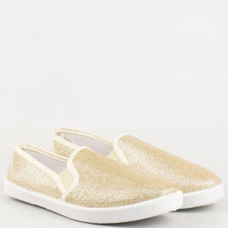 Дамски ежедневни обувки в златно с два ластика и бяло ходило 310316zl