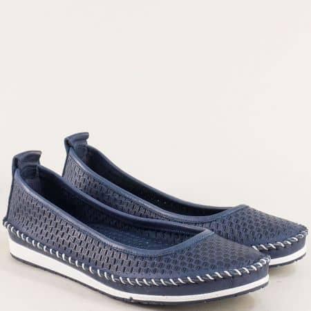Тъмно сини дамски обувки с кожена стелка и перфорация 31110101ts