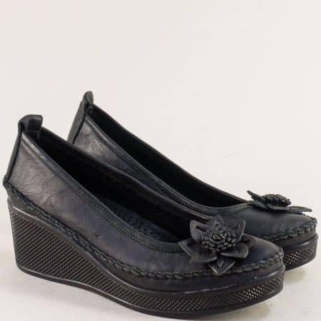 Черни дамски обувки от естествена кожа на платформа 31114810ch