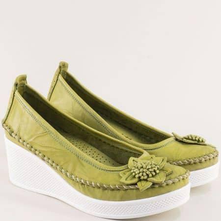 Зелени дамски обувки от естествена кожа на клин ходило 31114810z