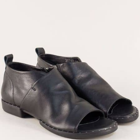Черни дамски обувки с отворени пръсти и кожена стелка 31149ch