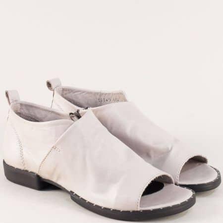 Кожени дамски обувки с отворени пръсти и цип в сив цвят 31149sv