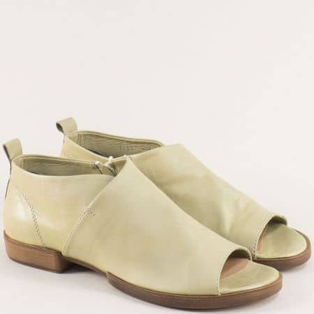 Зелени дамски обувки с отворени пръсти и кожена стелка 31149z