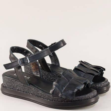 Черни дамски сандали на платформа от естествена кожа 31163ch