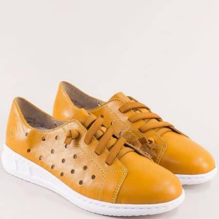 Жълти дамски обувки с перфорация и ластични връзки- RIEKER 3116j