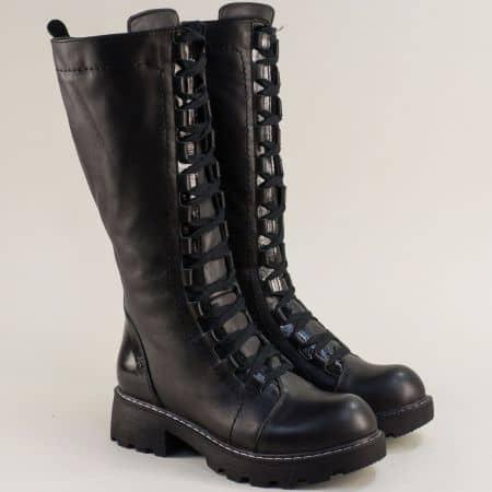 Черни дамски ботуши от естествена кожа 3120ch