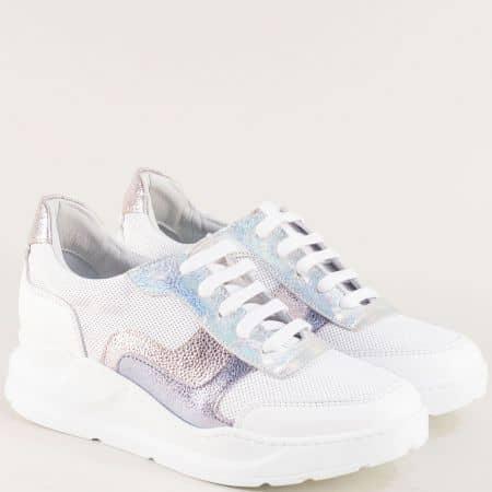 Анатомични дамски обувки от естествена кожа в розово и бяло 31231b