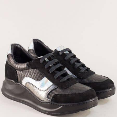 Сребърно черни дамски обувки на платформа от естествена кожа 31231ch