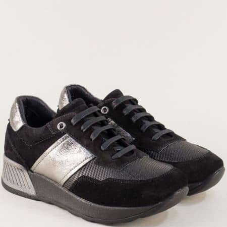 Дамски обувки на платформа от естествена кожа в модна комбинация 31242ch