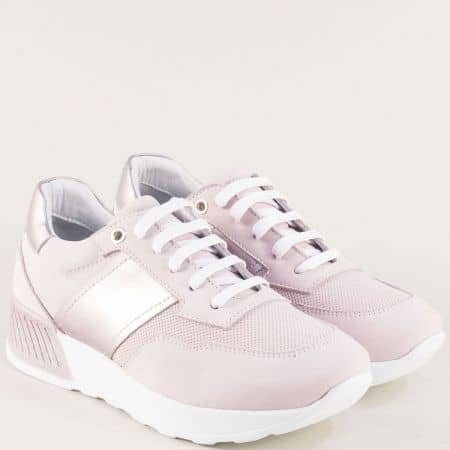 Розови дамски маратонки на платформа от естествен набук  31242rz