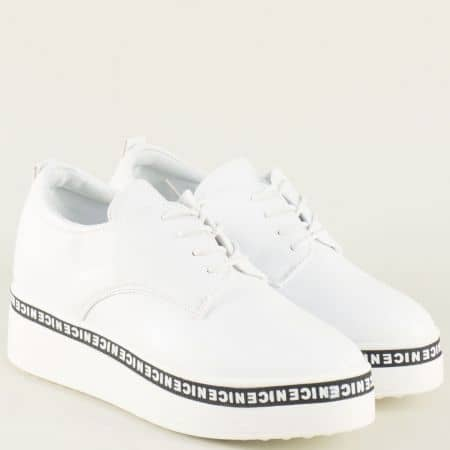 Бели дамски обувки с връзки на платформа 313001b