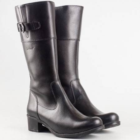 Дамски комфортни ботуши изработени от висококачествена естествена кожа в черен цвят 3135ch