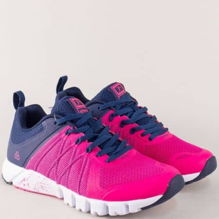 Дамски маратонки Knup в син и цикламен цвят с връзки 3138-40rz