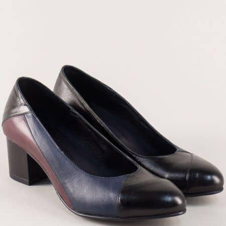 Дамски обувки от естествена кожа в черно, бордо и синьо 31405chps