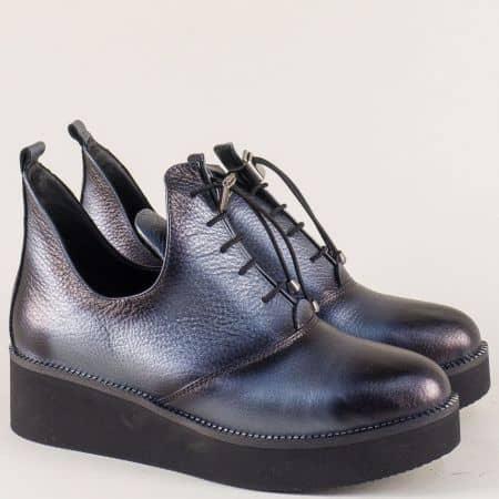 Сиви дамски обувки с кожена стелка и ластични връзки 315364sv