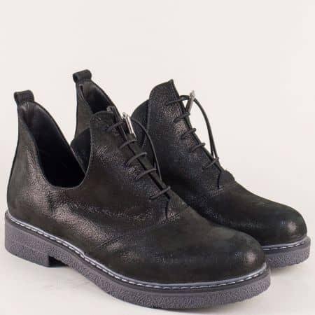 Черни дамски обувки от естествен набук на нисък ток 315418nch