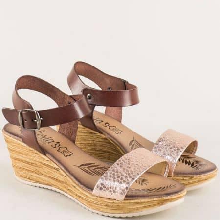 Кожени дамски сандали в розово злато и кафяво 3175k
