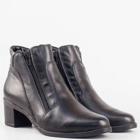 Дамски ежедневни боти със сая от висококачествена естествена кожа в черен цвят 31791454ch