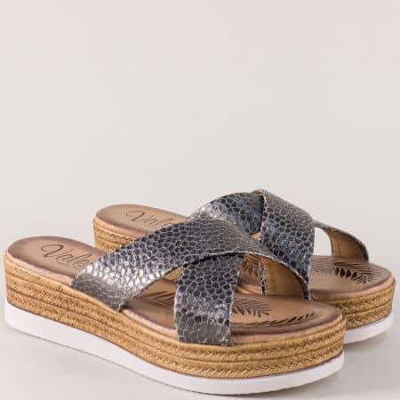 Испански дамски чехли в сребро с кожена стелка 3187zsv