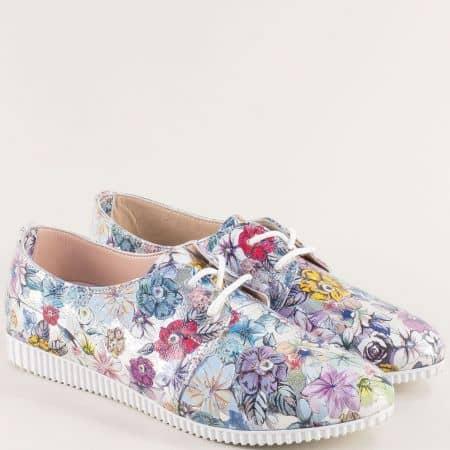 Комфортни кожени дамски обувки в пъстър цвят 3188455ps