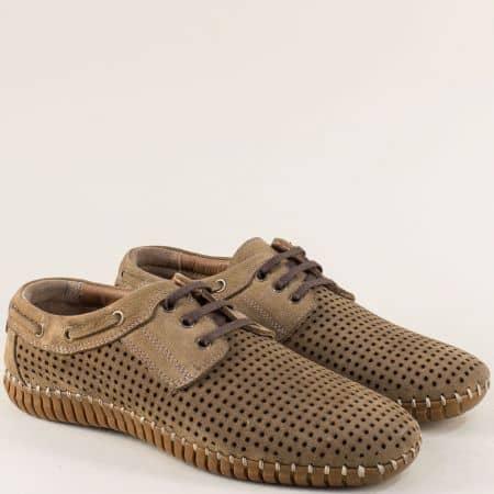 Кафяви мъжки обувки от естествен набук с перфорация 31nk