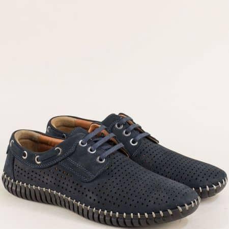Сини мъжки обувки с кожена стелка и перфорация 31ns