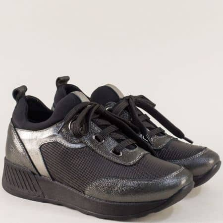 Дамски маратонки от естествена кожа отвън и отвътре в черен цвят 32031chbrz