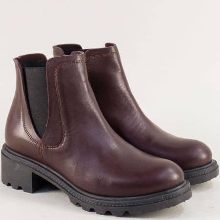 Зимни дамски обувки в бордо от естествена кожа 32107bd