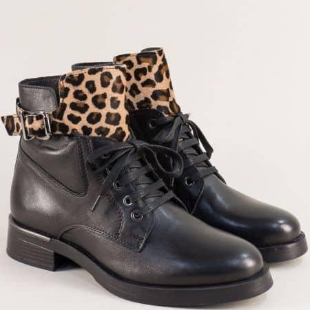 Черни дамски боти от естествена кожа с тигров ефект 32214chps