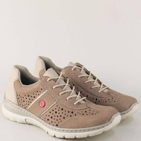 Бежови дамски обувки с вградена Memory пяна- Rieker 3225nbj