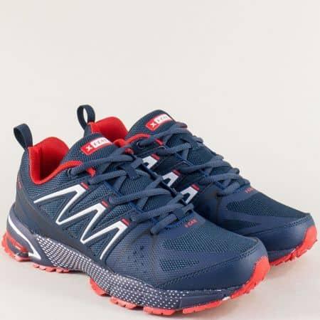 Мъжки маратонки в тъмно синьо и червено- KNUP 3228-45ts