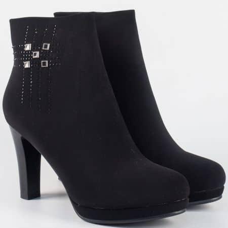 Елегантни дамски боти в черно на висок ток 323005nch