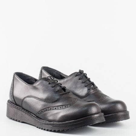 Черни дамски обувки от естествена кожа с анатомична стелка, произведител Пещера 32338663ch
