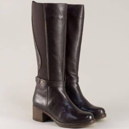 Тъмно кафяви дамски ботуши от естествена кожа на нисък ток 323451045kk