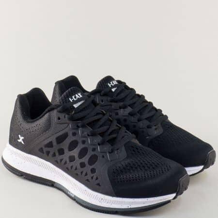 Черни мъжки маратонки с връзки и ефектен принт- Knup 323912-45ch